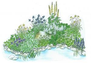 цветник около водоема, фото