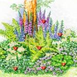 Цветник для тенистого участка под деревьями